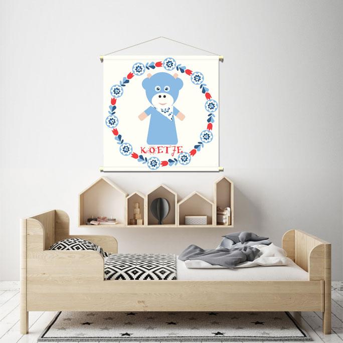 WANDenWOONdeco.nl WWDNL KIDS textielposter KOEtje