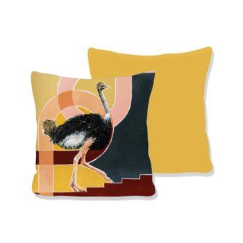 WANDenWOONdeco.nl Atelier Andrea kussen UP AND FORWARD oker achterkant