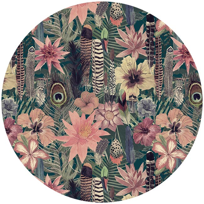 WANDenWOONdeco.nl zelfklevend behang cirkel ZAHIM en Dibond cirkel DOMINIQUE