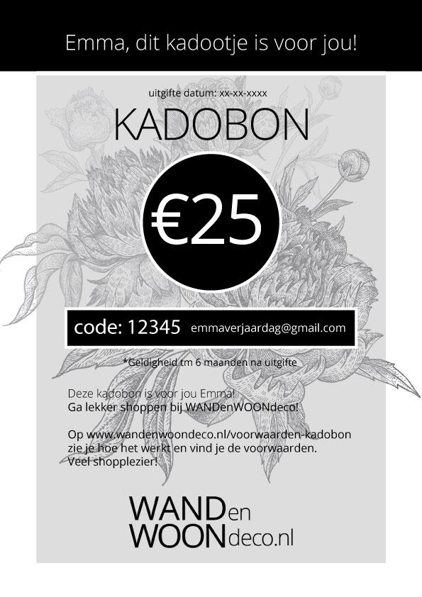 WANDenWOONdeco.nl kadobon design: zwart wit