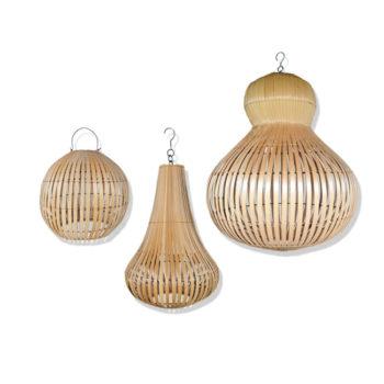 woonaccessoires set van 3 bamboe hanglampen LAILA