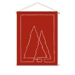 textielposter-ONE-LINE-XMAS-TREES