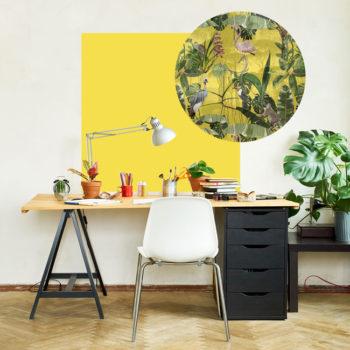 zelfklevend-behang-ZERO en behangpanelen BERND-vierkant-en-cirkel-bovenbureau-geel-A