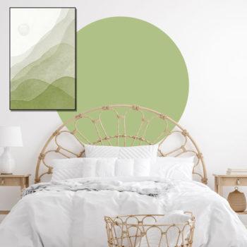 zelfklevend-behang-cirkel-ZILVIO en behangcirkel BOJO-uni-fris-groen