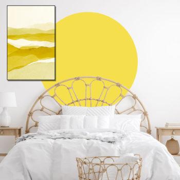 zelfklevend-behang-cirkel-ZILVIOen behangcirkel BOJO -uni-geel