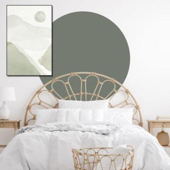 zelfklevend-behang-cirkel-ZILVIO en behangcirkel BOJO-uni-mos