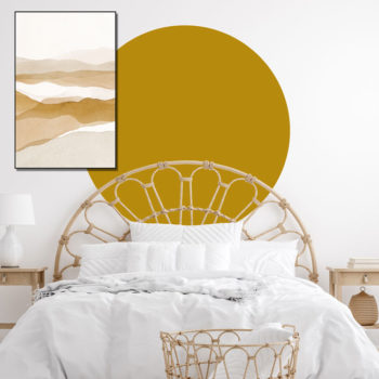 zelfklevend-behang-cirkel-ZILVIO en behangcirkel BOJO-uni-oker