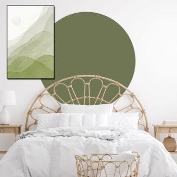zelfklevend-behang-cirkel-ZILVIO en behangcirkel BOJO-uni-olijf
