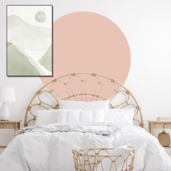 zelfklevend-behang-cirkel-ZILVIO en behangcirkel BOJO-uni-roze