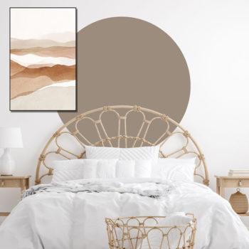 zelfklevend-behang-cirkel-ZILVIO en behangcirkel BOJO-uni-taup