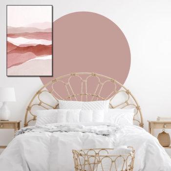 zelfklevend-behang-cirkel-ZILVIO-en behangcirkel BOJOuni-warm-pink