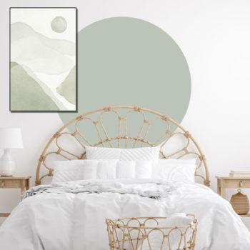 zelfklevend-behang-cirkel-ZILVIOen behangcirkel BOJO -uni-zacht-groen