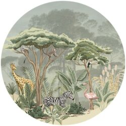 zelfklevend-behang-cirkel-ZOO-145-cm-achtergrond-met parasoldennen kleur zachtgroen A - vloercirkel MADGASKAR