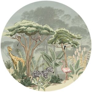 zelfklevend-behang-cirkel-ZOO-145-cm-achtergrond-met parasoldennen kleur zachtgroen