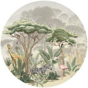 zelfklevend-behang-cirkel-ZOO-achtergrond-met paraseldennen kleur offwhite