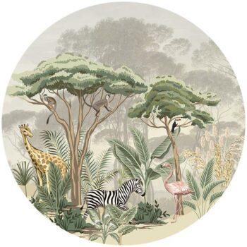 zelfklevend-behang-cirkel-ZOO-achtergrond-met paraseldennen kleur offwhite - vloercirkel MADAGASKAR