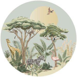 zelfklevend-behang-cirkel-ZOO-uni-achtergrond-kleur zachtgroe