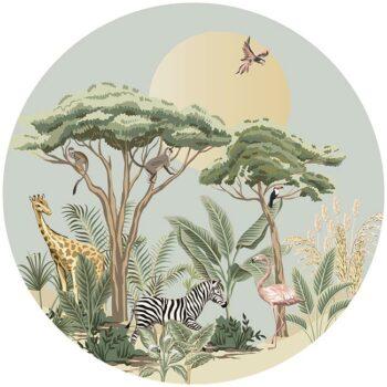 zelfklevend-behang-cirkel-ZOO-uni-achtergrond-kleur zachtgroen - vloercirkel MADAGASKAR