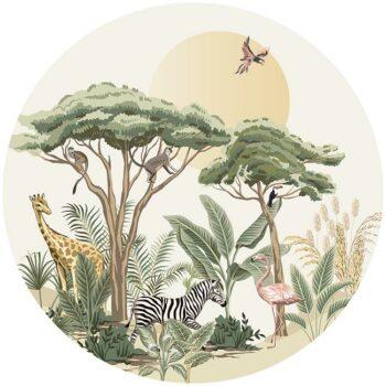 zelfklevend-behang-cirkel-ZOO-uni-offhwite-achtergrond - vloercirkel MADAGASKAR