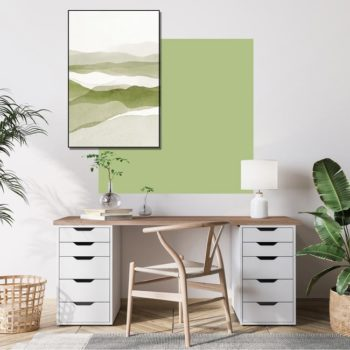 zelfklevend-behang-vierkant-ZITAen behangpaneel BOBBY -uni-fris-groen-setting