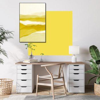zelfklevend-behang-vierkant-ZITAen behangpaneel BOBBY -uni-geel-setting