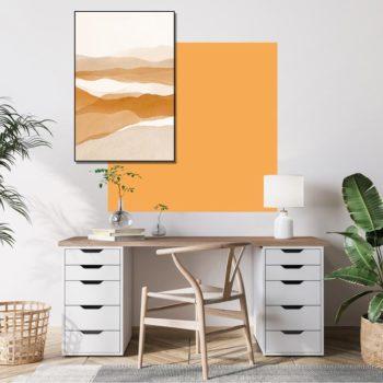 zelfklevend-behang-vierkant-ZITA en behangpaneel BOBBY -uni-orange-setting