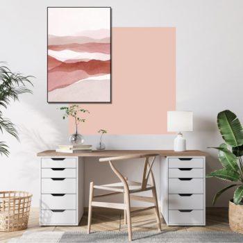 zelfklevend-behang-vierkant-ZITA -en behangpaneel BOBBY uni-roze-setting