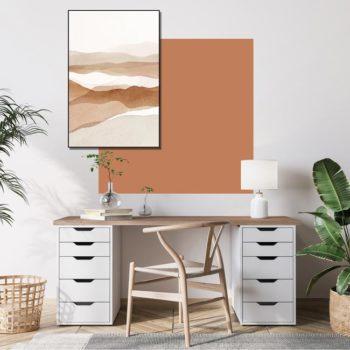 zelfklevend-behang-vierkant-ZITA en behangpaneel BOBBY -uni-terracotta-setting