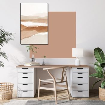 zelfklevend-behang-vierkant-ZITAen behangpaneel BOBBY -uni-warm-pink-setting