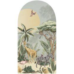 behangpaneel-m-uurboog-BUNGO-100x190-cm-achtergrond-zachtgroen-met-parasoldennen en zelfklevende muurboog ZYAN