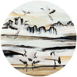 zelfklevend-behangcirkel-KRAANVOGELS-original-nature