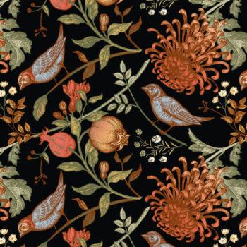 close up behang BIRDY en wanddoek WILDE zwart